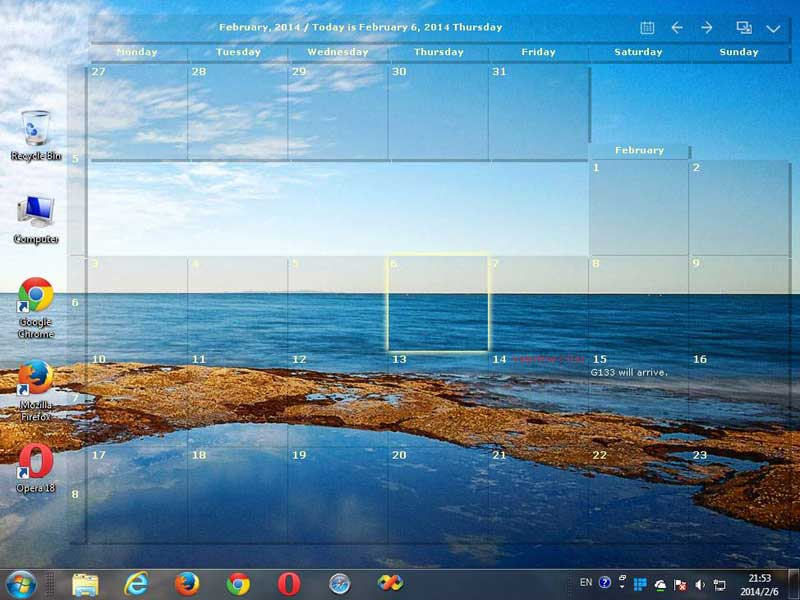Desktop Calendar Screenshot